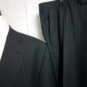 Haggar Suits & Blazers - Haggar 1926 Q 50R Charcoal Black Striped Suit